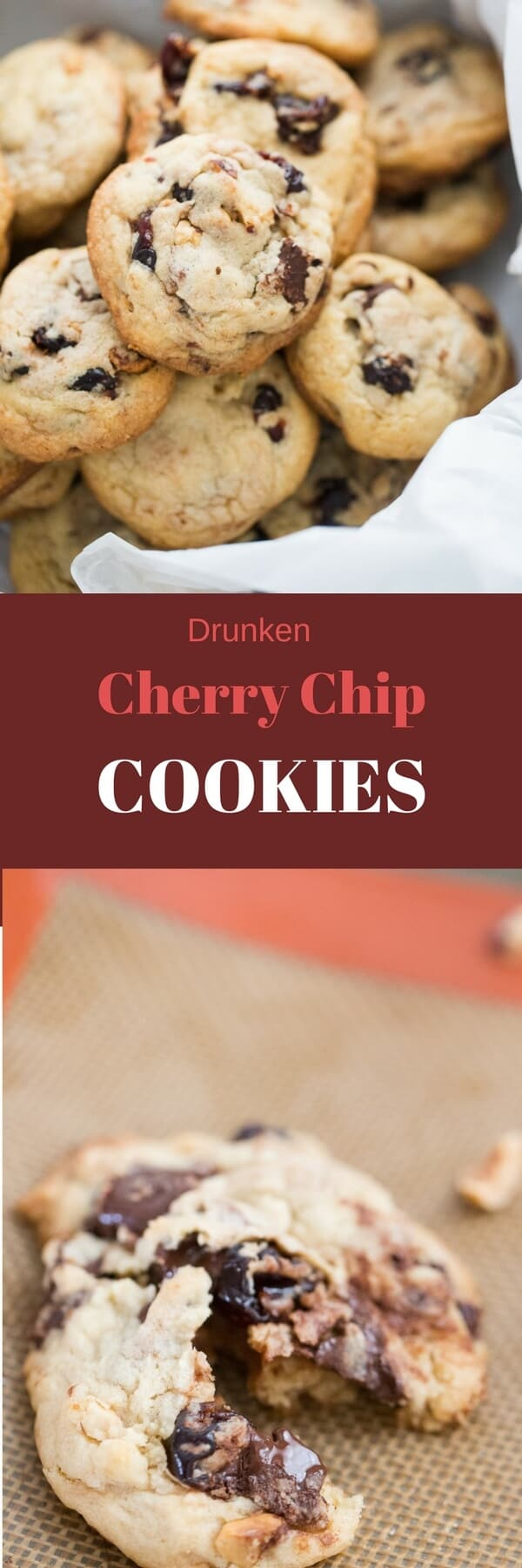 These cherry chip cookies are for the sophisticated cookie lover! Each bit features boozy cherries, chocolate chunks and crunchy hazelnuts!