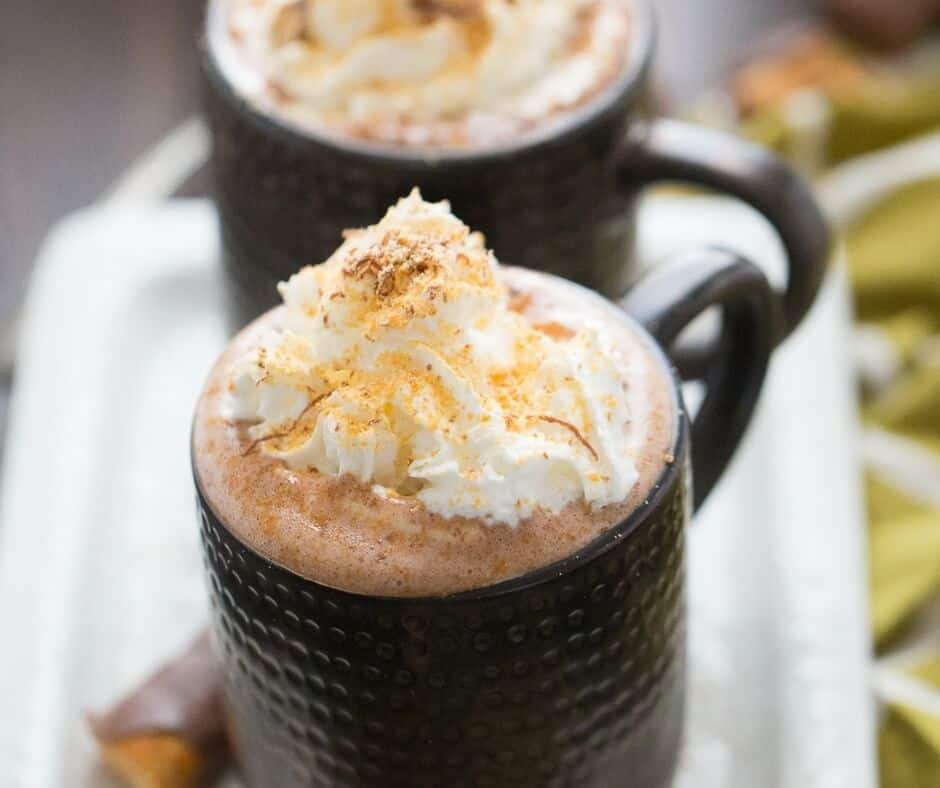 A hot cocoa recipe that tastes just like Butterfingers! Dessert in a drink!
