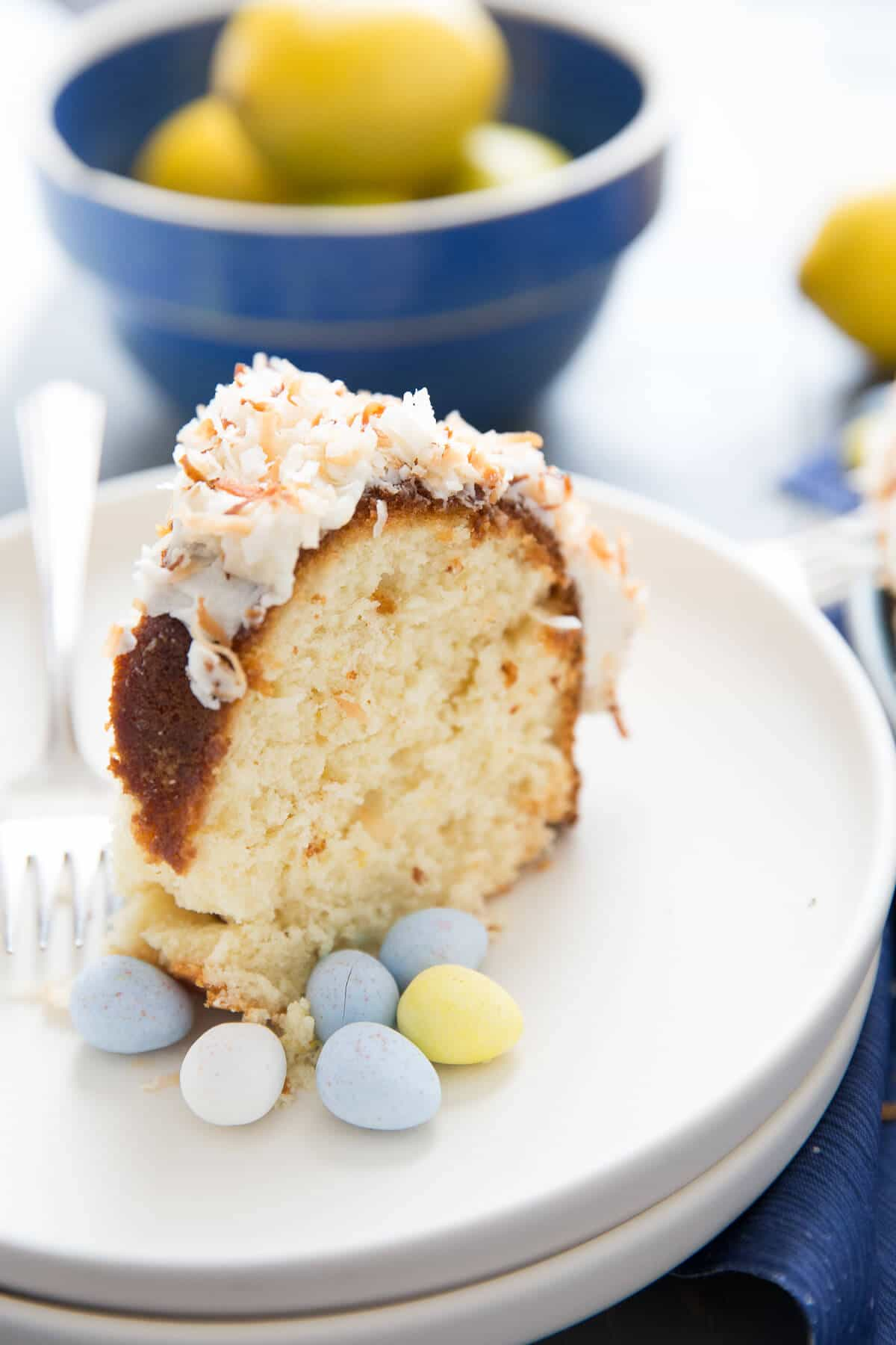 """Isn't a """"bird's nest"""" the perfect Easter lemon bundt cake? With it's lemon flavored cake, it's like spring from the inside out!"""