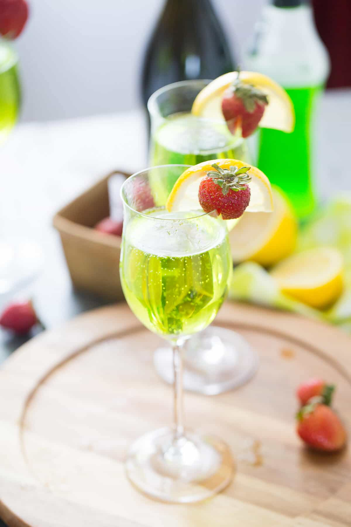 This bubbly Irish cocktail is so much fun! Prosecco and Midori make an unforgettable combination!