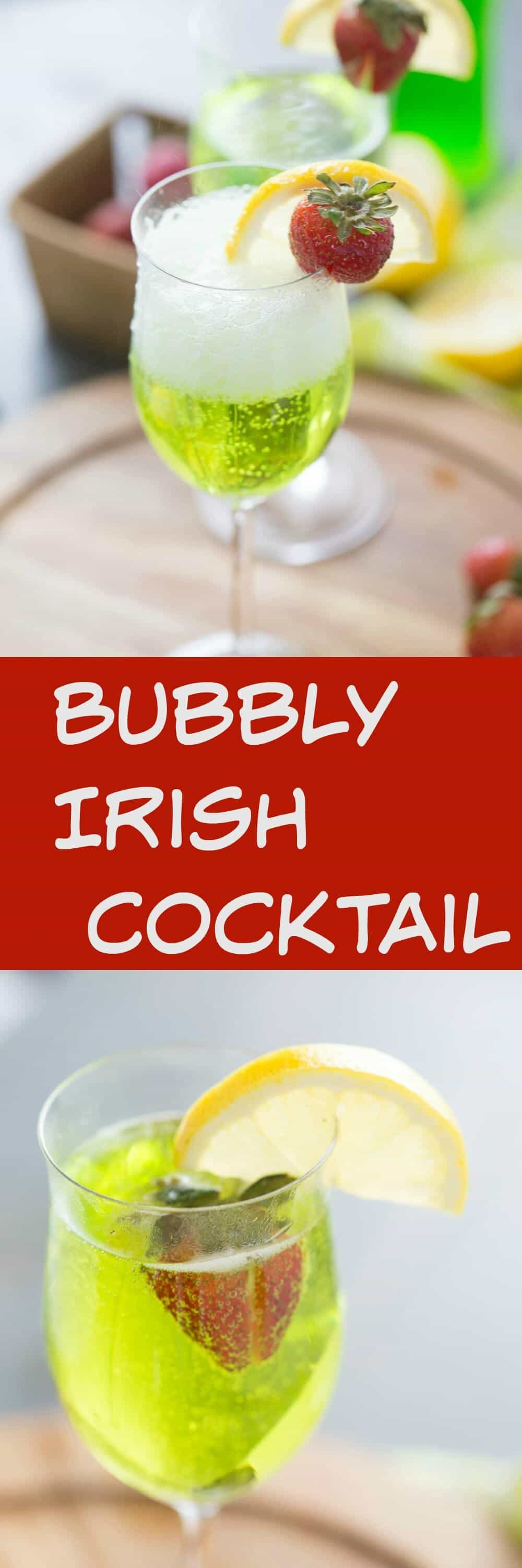 Want to bring some fun to your party? This green Irish cocktail is perfect for parties! Prosecco and Midori make this bubbly cocktail bright and effervescent!