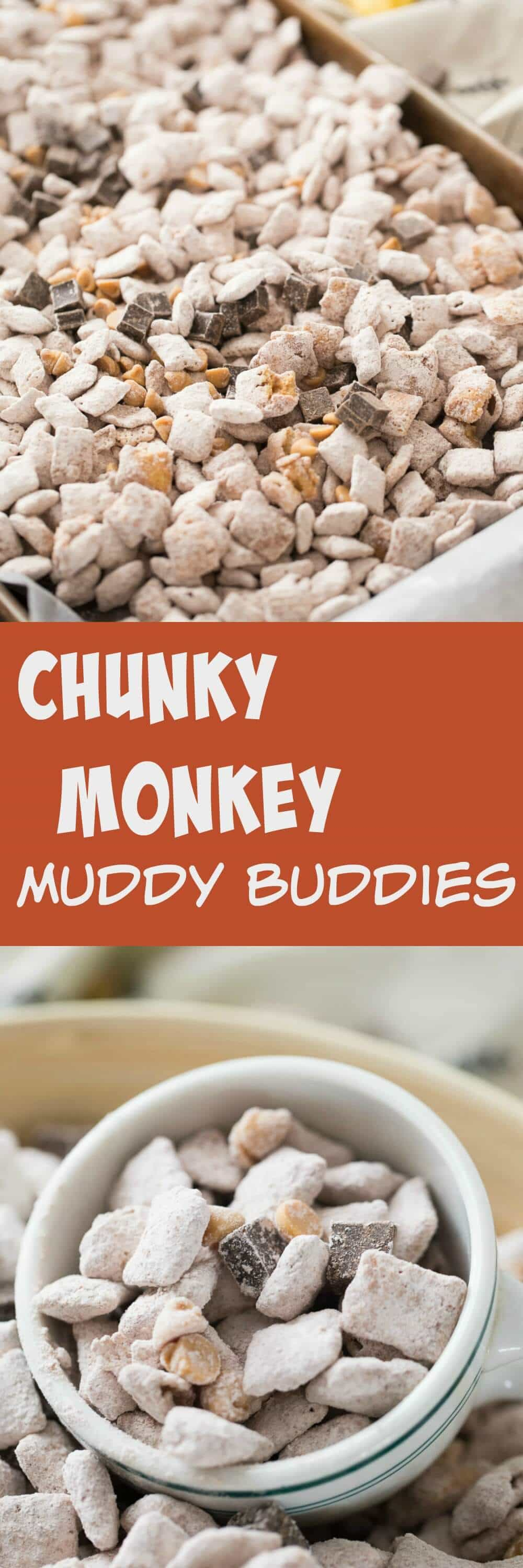 This chunky monkey snack mix is so simple to make; it's a great recipe to make with kids! Peanut butter and chocolate work perfectly in this fun muddy buddy recipe!