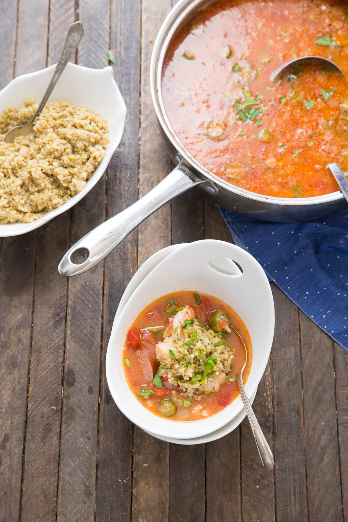 An easy gumbo recipe that is sure to please a crowd! This recipe is filled with veggies and seafood!