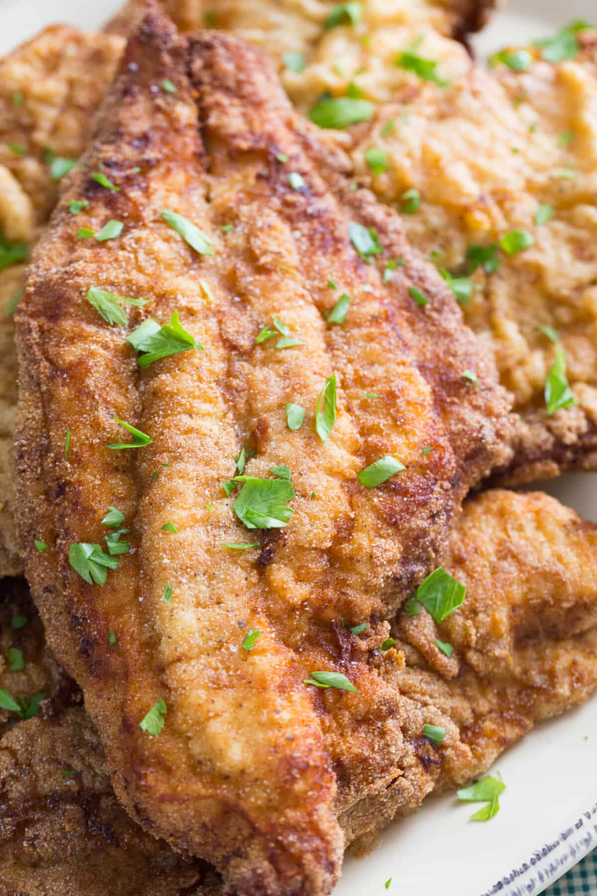 This is fried catfish at it's best! It is crisp on the outside and flaky on the inside, just as it should be!