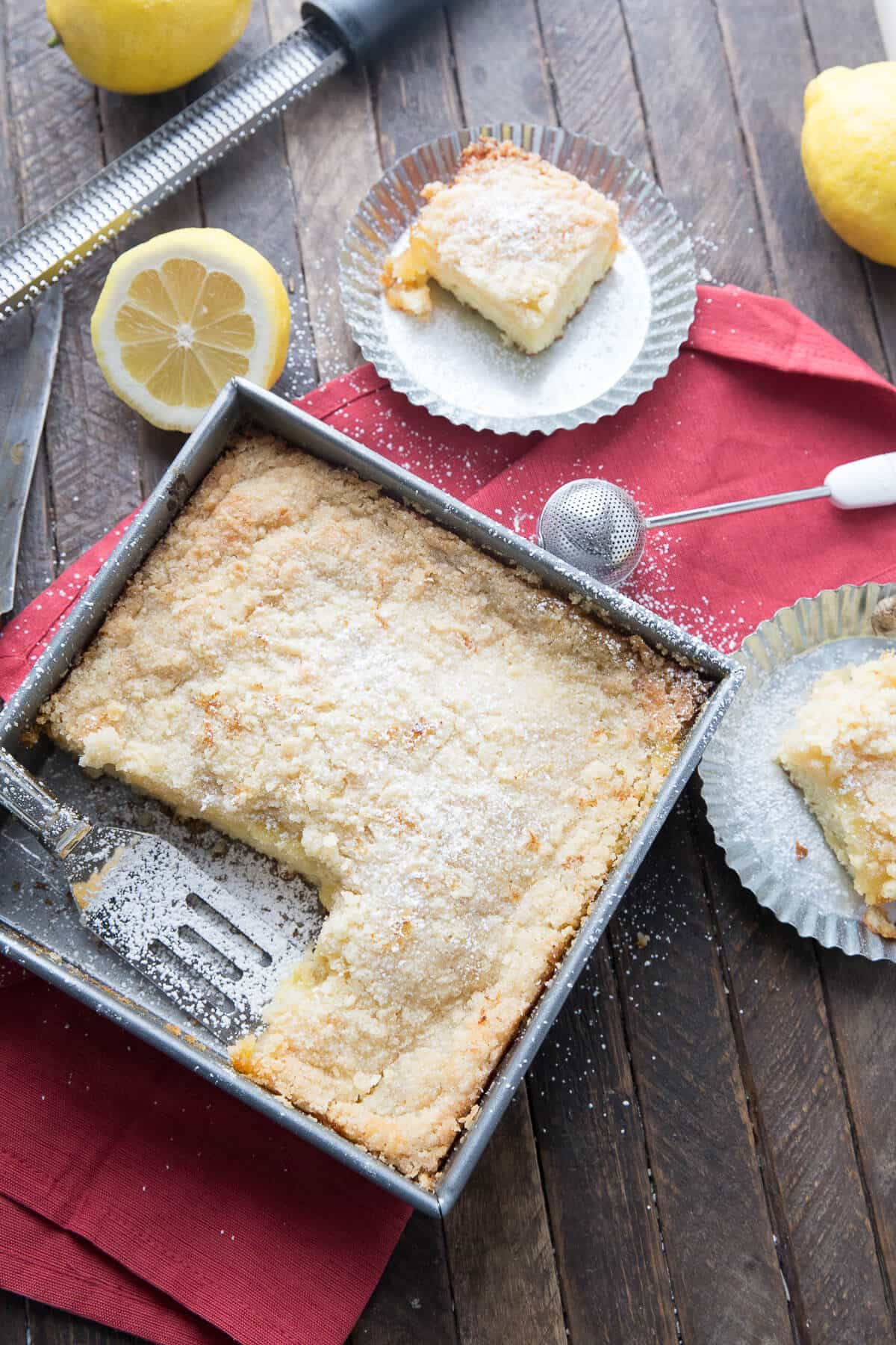This crumb cake is brimming from top to bottom with tangy, fresh, lemon flavor! It is so refreshing!