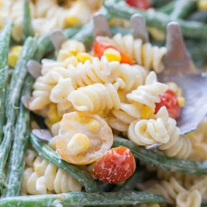 This vegetable pasta salad is tough to beat when it comes to side dishes! It's fresh and simple!