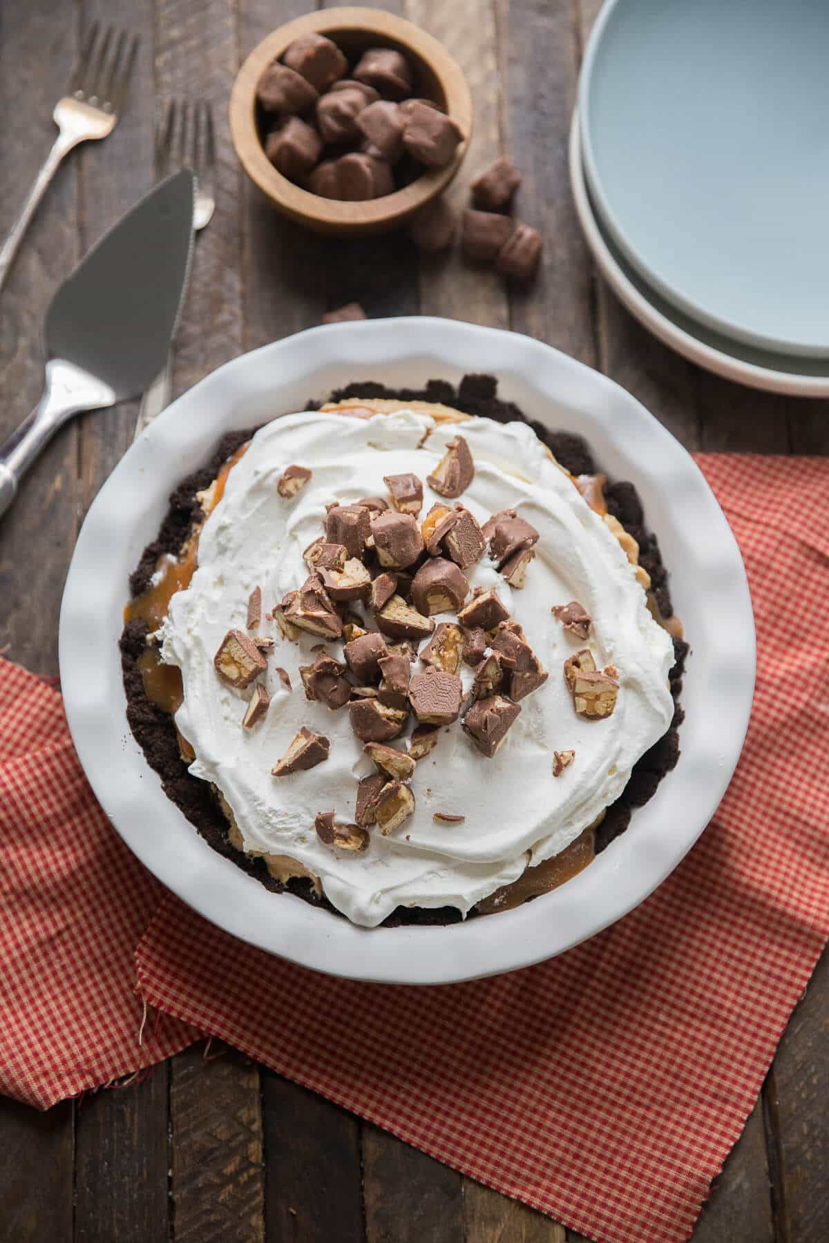 Peanut butter pie with caramel mixed in is a treat to behold! This recipe is a keeper!