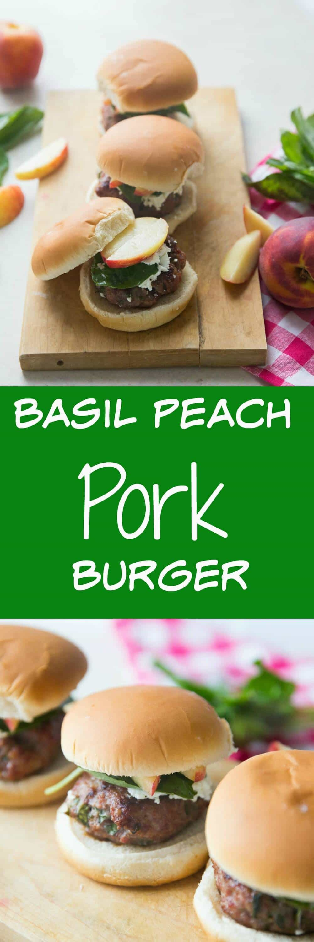 You have to try this pork burger recipe for your next cookout! Pork makes a super juicy burger and it tastes amazing with sweet peaches and tangy goat cheese!