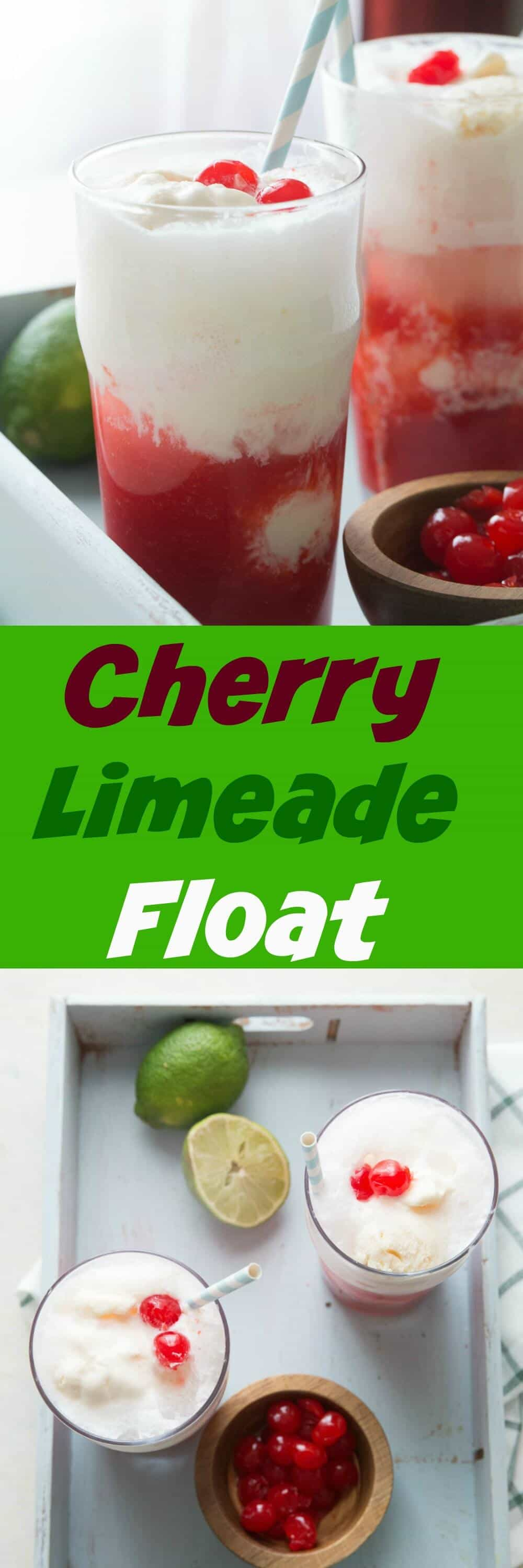 Ice cream floats are so fun!  Kids and adults are both going to love this sweet and tangy cherry limeade float!
