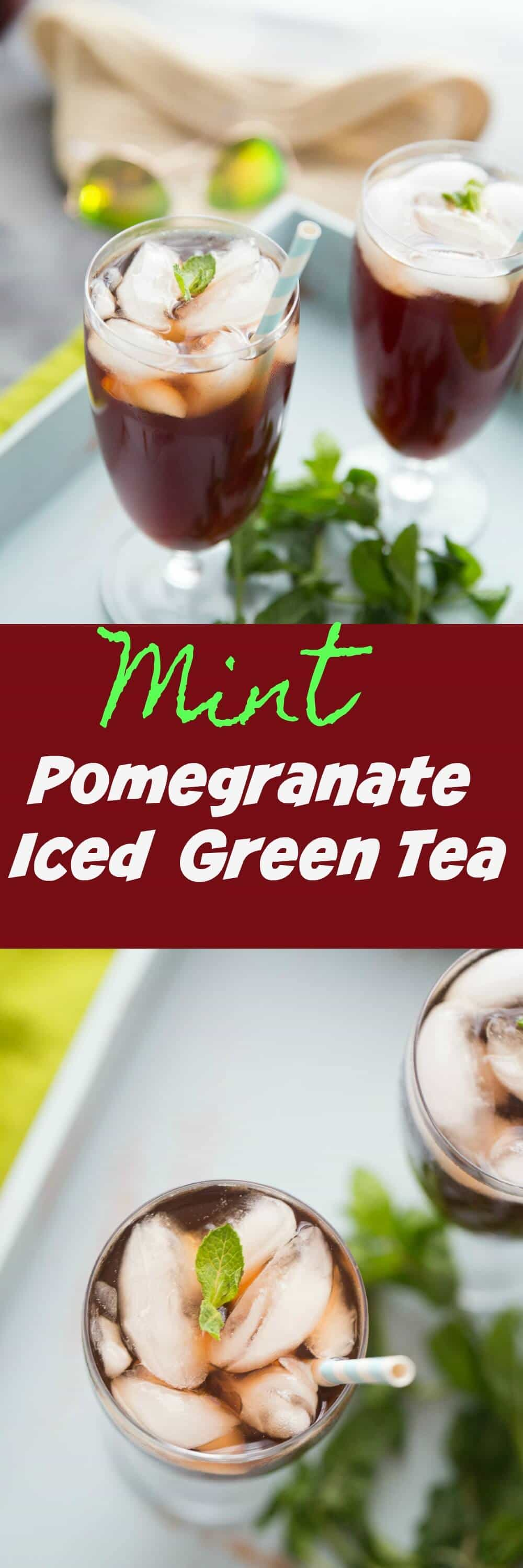 This pomegranate iced tea is the perfect midday pick me up! It is tart, slightly sweet and absolutely refreshing!