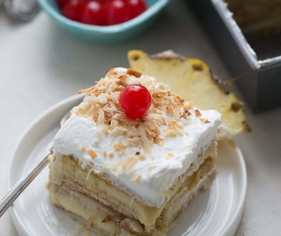 Ice box cakes are fantastic no-bake cakes! This pina colada flavor is the perfect summertime treat!