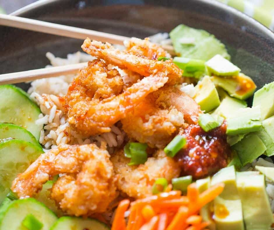 Breaded shrimp is easy and they add so much flavor to this simple sushi bowl!