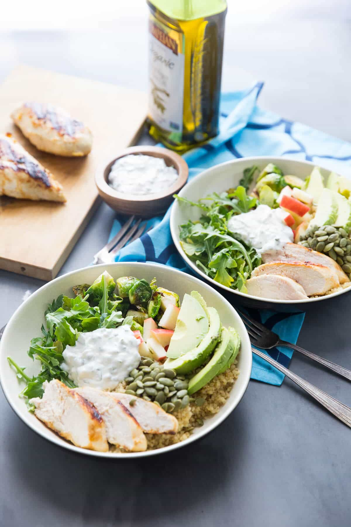 Chicken Buddha Bowls have flavor and are loaded with good food!  This green bowl has so many good for you ingredients, your body will thank you.