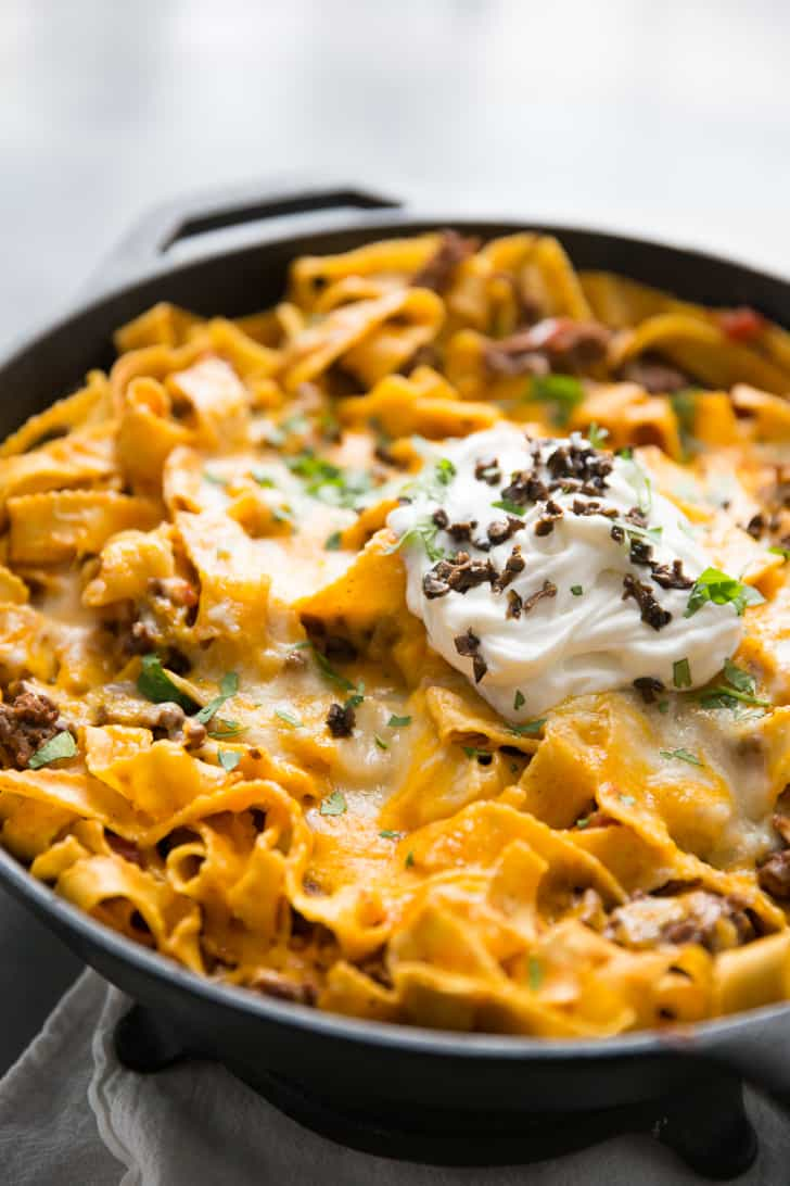 Ground beef and noodles skillet