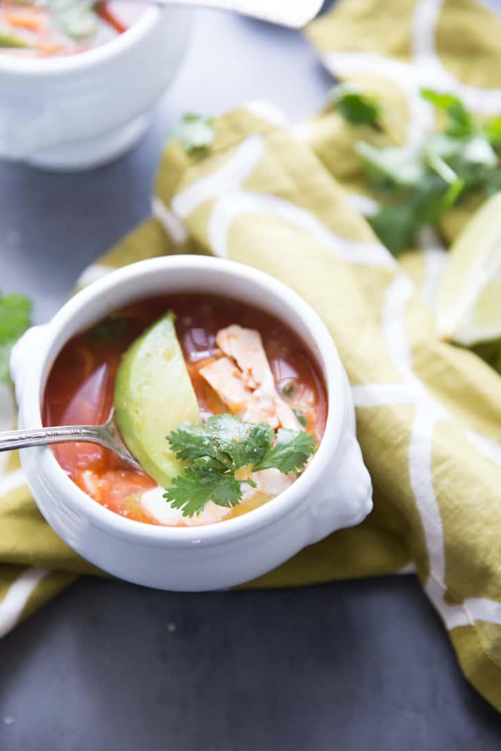 Mexican Chicken Soup recipe with avocado
