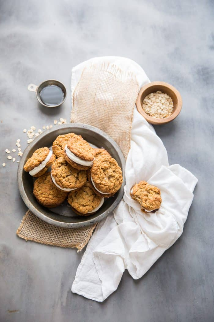 Homemade oatmeal cream pies with marshmallow fluff