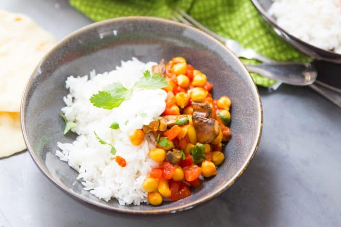 vegetarian Tikka masala with chickpeas