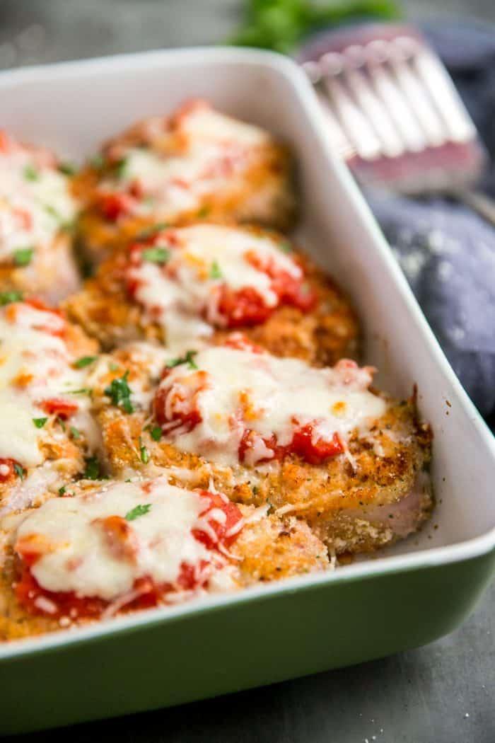 pork chop recipes with marinara sauce Pork Parmesan with Homemade Marinara Sauce - Lemons for Lulu