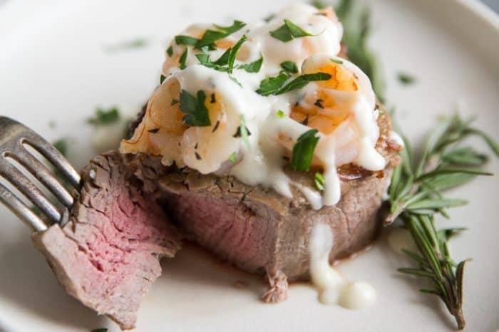Steak with shrimp, sliced