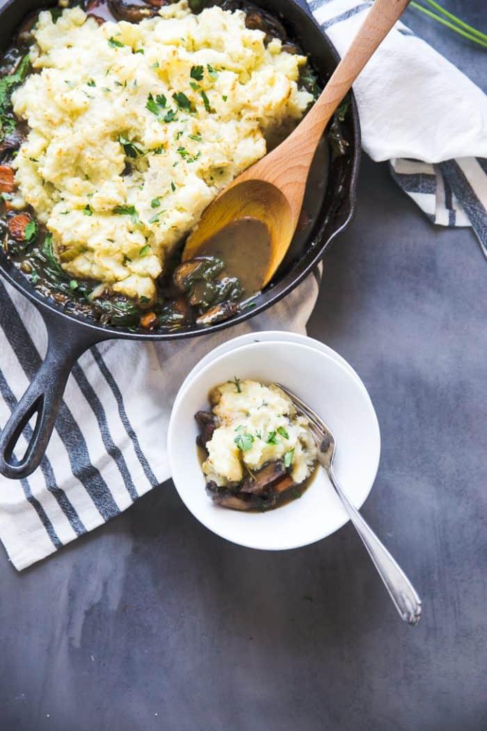 Vegan Pot Pie skillet and bowl