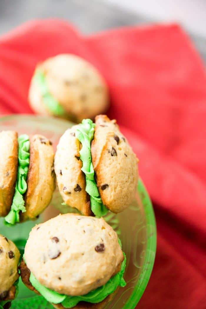 Close up Mint Chocolate Chip Whoopie Pies