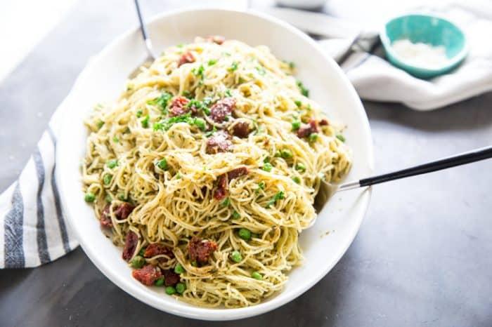 Pasta with peas horizontal