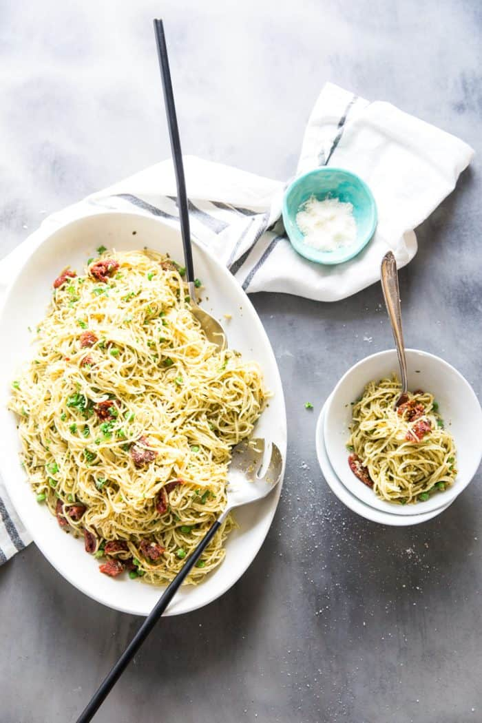 Pasta with peas bowl on the side