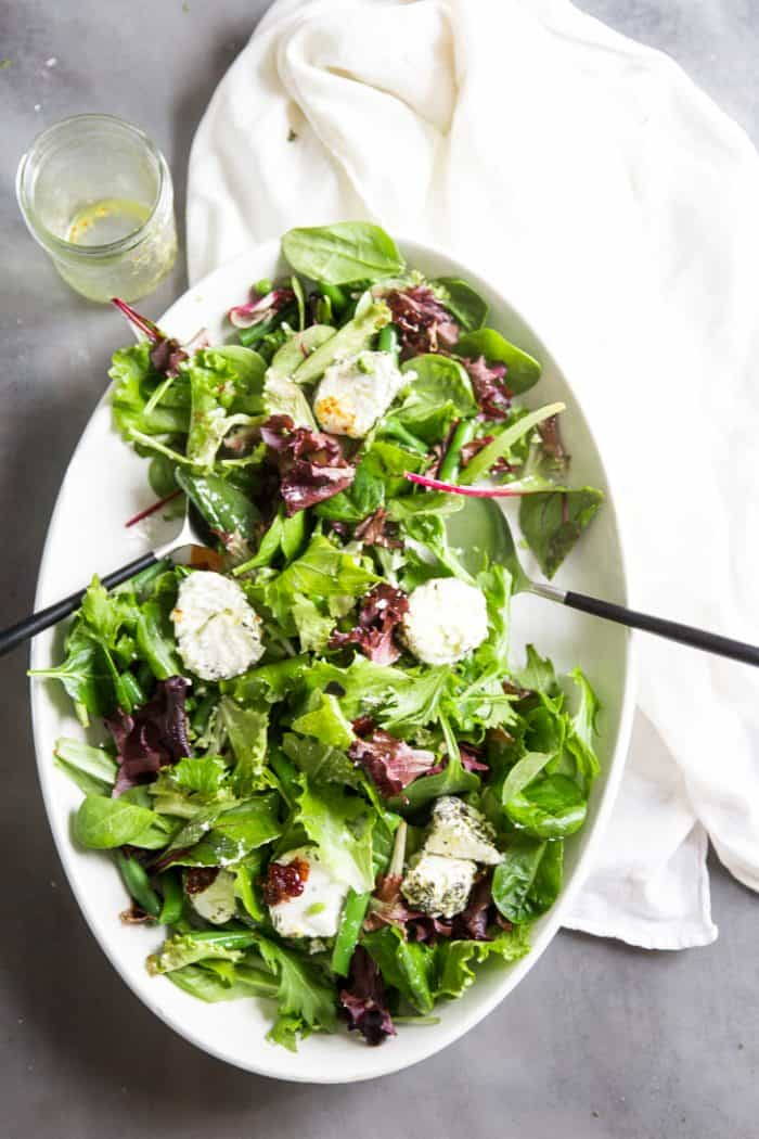 Spring Salad Recipe top down image with tongs