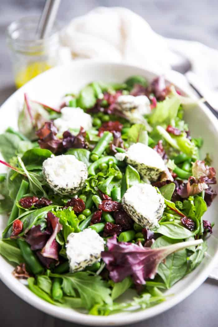 Spring salad recipe on a platter