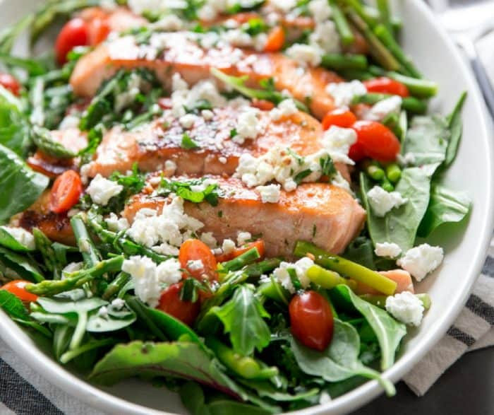 Bourbon glazed salmon salad side