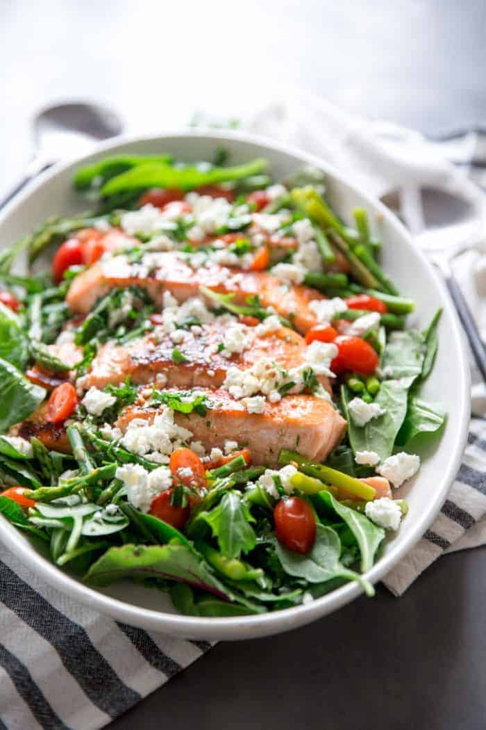 Bourbon Glazed Salmon on salad