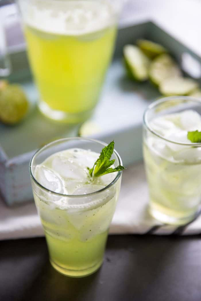 Lime and Mint Agua Fresca recipe in a Glass