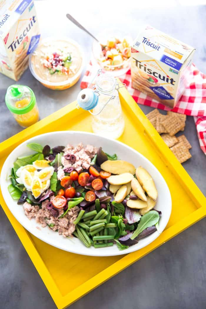 Nicoise salad with hummus and crackers