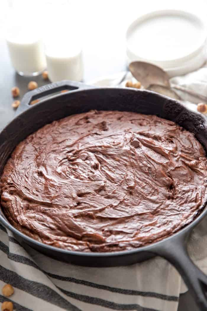 Skillet brownie no topping