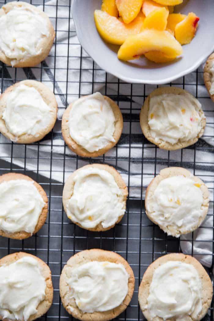 Peach Bellini Cookies on baking rack