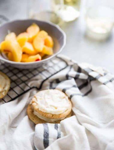 Peach Bellini Sugar Cookies stack of two