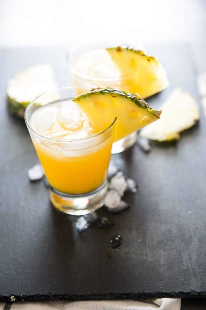 Vodka cocktail with pineapple