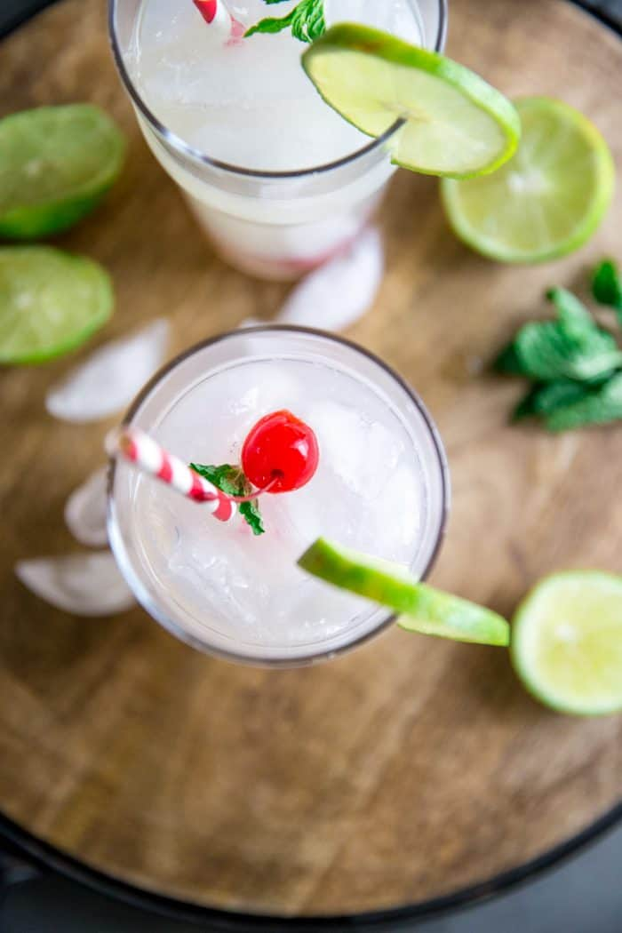 Cherry vodka lemonade top down shot of one glass