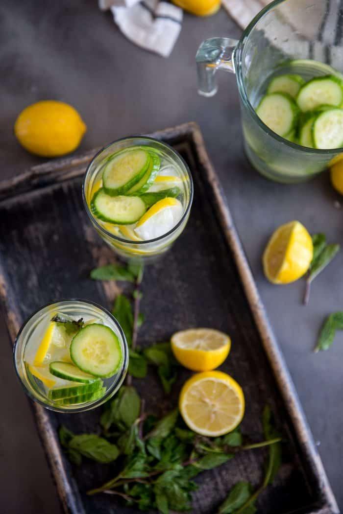 Cucumber lemon detox water top view of glasses