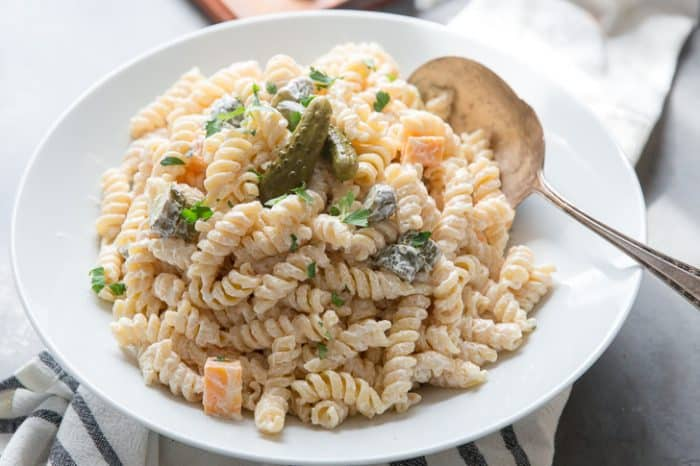 dill pickle pasta salad close up