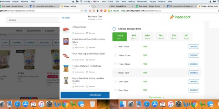 Grocery delivery screen shot