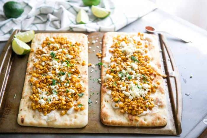 Mexican Street Corn Flatbread Pizza baked