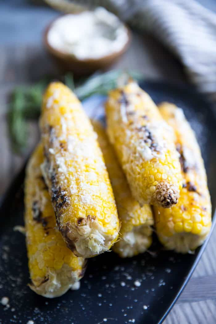 Grilled corn on a platter