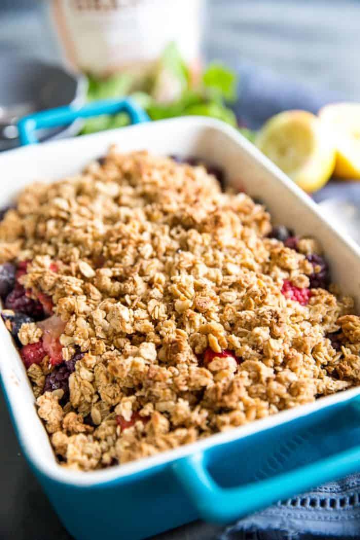 Mixed berry crumble baking dish