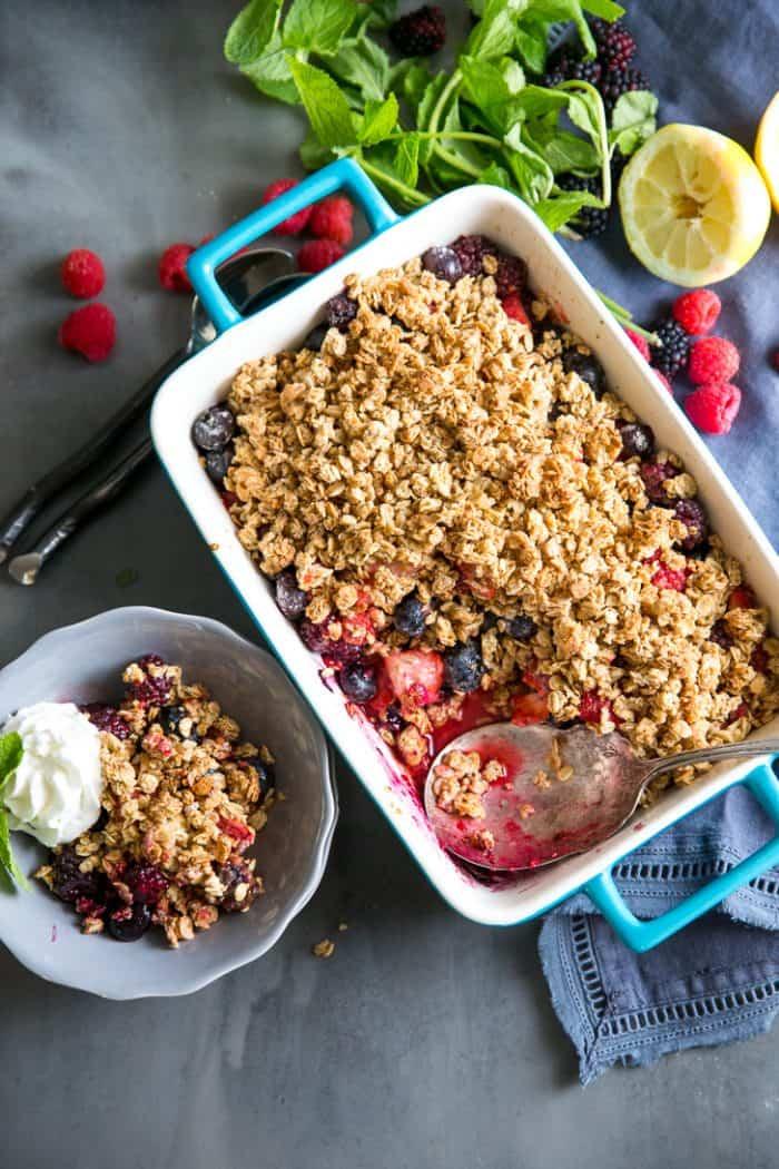 Mixed berry crumble baking dish and bowl