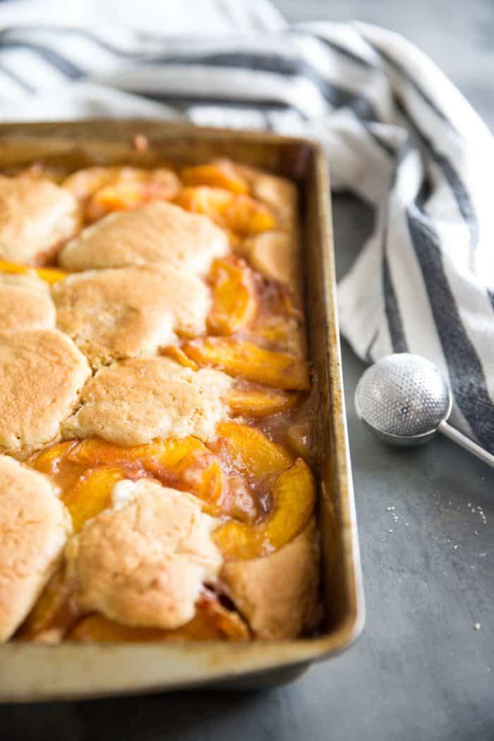 Pan of peach cobbler bars