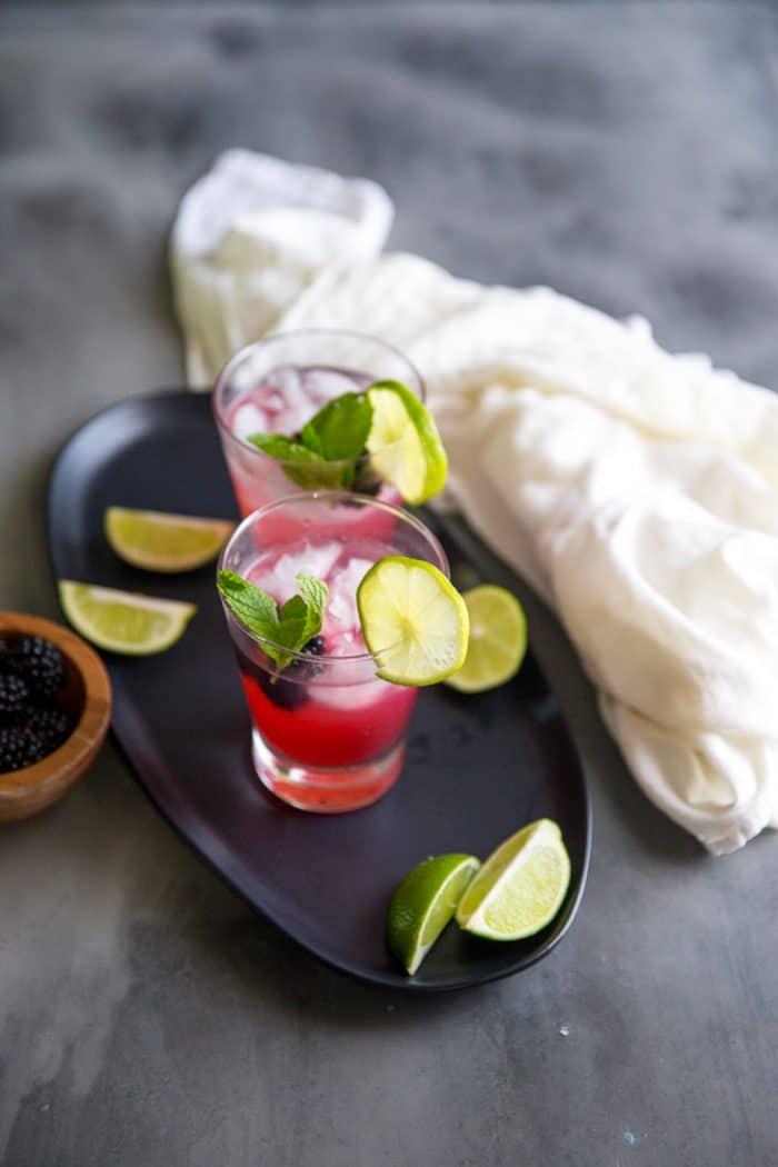 vodka gimlet on a platter