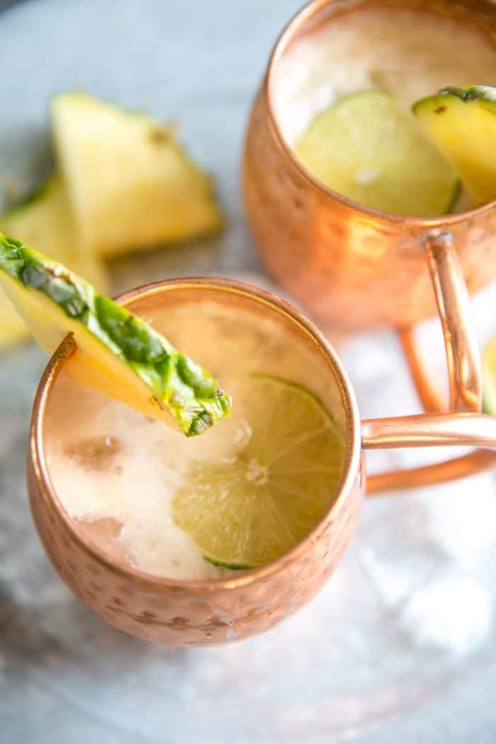 Moscow mule drink copper mug