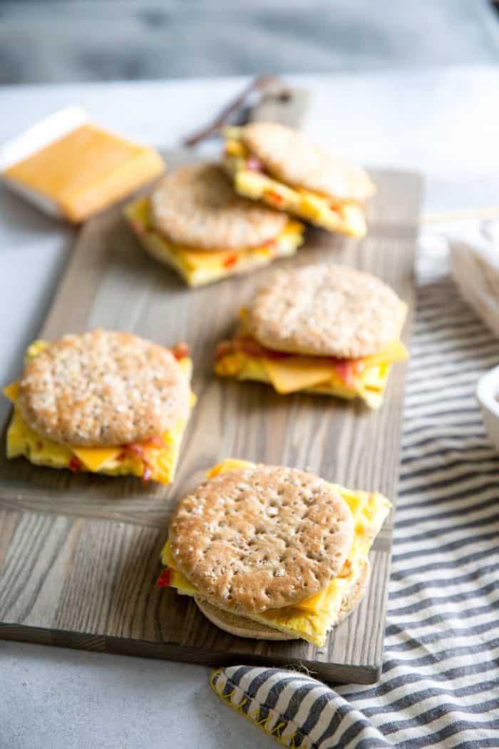 Denver omelet sandwich on a board