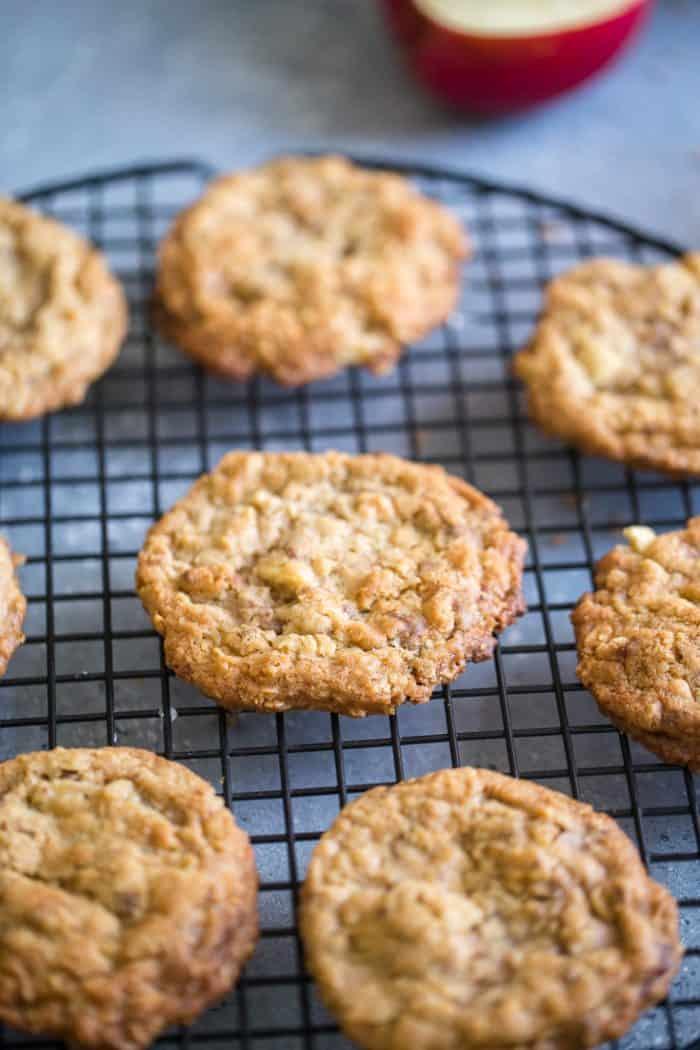 apple oatmeal cookies baking rack